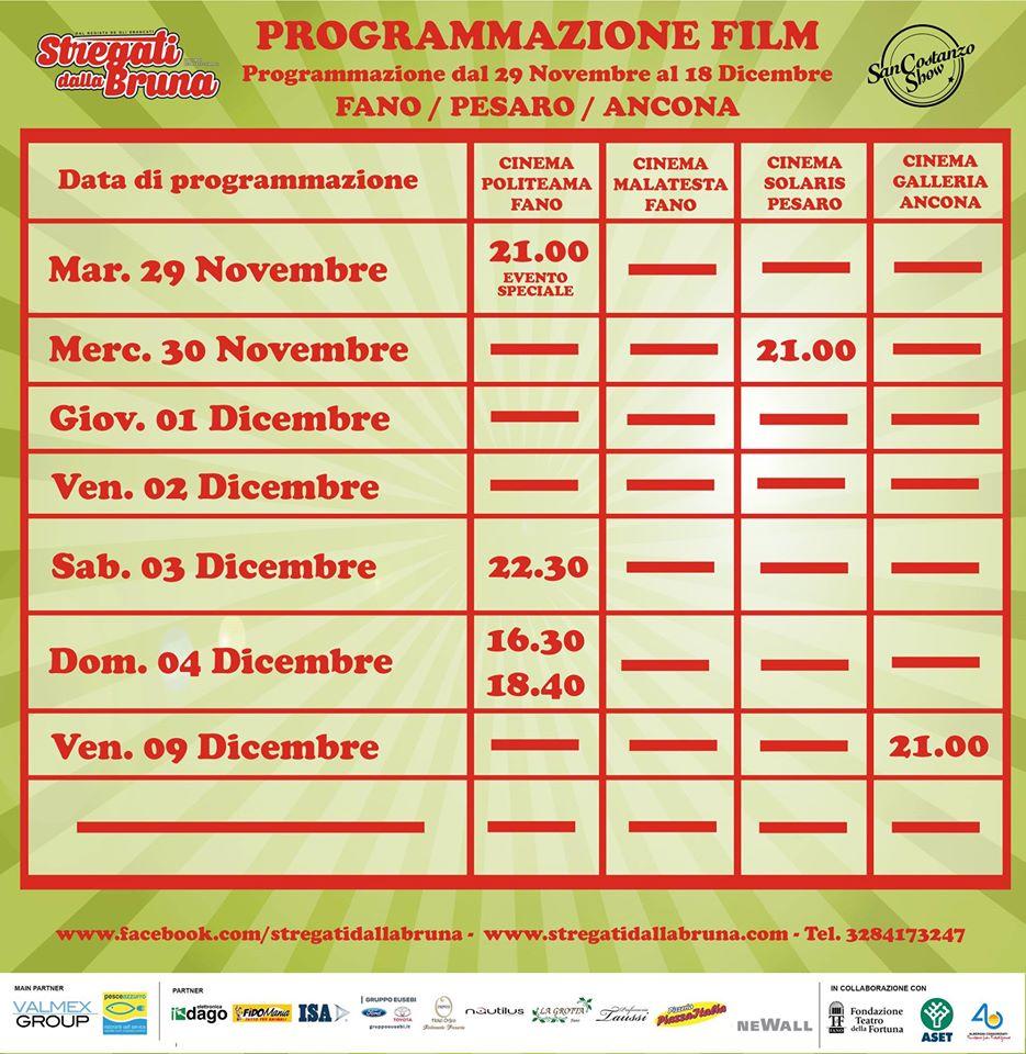 Programmazione dal 29 Novembre al 18 Dicembre